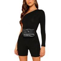 Bodysuits Bir Omuz Uzun Kollu Sıska Tulum Skinny Playsuits Vücut Bayan Giyim Tulumlar Için Takım Elbise Dropshipping
