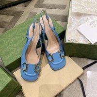2021 Summer Designer di lusso Designer Donne sandali 7.5 cm Scarpe tacco alto blu Scarpe da donna Pelle Donne Pelle Quadrato Scarpa Chunky Heels Sandalo Big Size 35-42