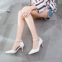 Dress Shoes Female stiletto shoes white crystal crystal, fetish high heels eight centimeters for marriage plus size STWT