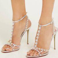 Doris Fanny Perle Transparente Schuhe Silber Sandale Fersen Frauen Sommer Größe 39 Sandalen