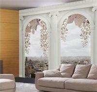 Vente en gros - Papier peint de photo personnalisé de n'importe quelle taille pour salon Chambre à coucher Décor Mur mural Fond d'écran Roman colonne Papel de parede 3D 690 v2