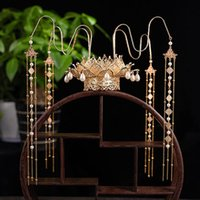 Imperial royal Lotus Crown fairy Jewelry Hanfu cosplay princess Headdress Ancient Ways Headwear TV Film performance women Costume Accessories