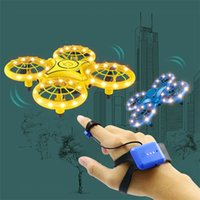 DHL SHIP Four-Axis Induction Drone Simulators Smart Watch Remote Sensing Gesture RC Aircraft Somatosensory Noctilucent Interaction Remoting Controller Toys