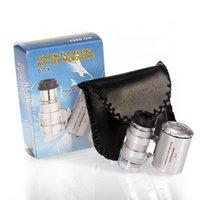 60x 2 en 1 mini bolsillo joyería de joyería lupa que mide el detector de moneda UV Microscopio Lupa Lupa Antigüedadera de lupa con luz LED de mano