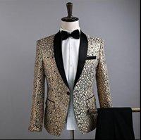 Men's Suits & Blazers !!! Clothing Slim Decorative Pattern Suit Coat Fashion Male Singer Host Stage Costumes Formal Dress VSTINUS S-XXL