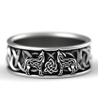 Huitan Viking Nordic Mythology Giant Wolf Men Ring Defense Totem Fashion Hip Hop Rock Unisex Finger Punk Gift