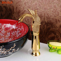 Rubinetti per il lavandino per il bagno Cucina sanitaria Swan Swan Golden finito rubinetto girevole Miscelatore Toccare Nuovo BR-11001 DWPE