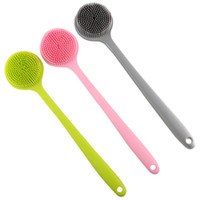 Long handle back brush soft silicone scrubber bathtub shower spa massage health skin care bathroom accessories