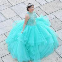 Elegant Aqua Blue Ball Gown Quinceanera Dresses 2022 XV Charros Sheer Neck Crystal Top Ruffles Puffy Skirt Tulle Long Vestido de Sweet 15 Prom Eveening Dress