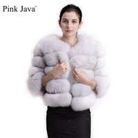 Pink Java 1801 real fur coat women winter thick jacket short wholesale genuine sleeve 211021