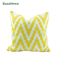 "18x18"" Bright Yellow Pillow Case Cushion Cover Crocheted Embroidery Geometric Pattern Zigzag Chevron Modern Throw Cushion Decorative"