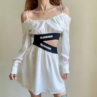Estilo europeo y estadounidense Vestido de mujer Alfabético Impreso correas Sling Hallow Hombro Tamaño: S / M / L