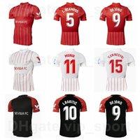 2021 2022 Men FC Sevilla Soccer Jersey 5 Ocampos Lamela 10 Ever Banega 15 En-Nesyri 16 Navas 9 de Jong 11 El Haddadi Reguilon Football Camiseta Kits Casa Rojo Negro Blanco