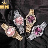 Designer Luxus Marke Uhren ing Herren Große Rosa Purple blaue Zifferblatt ausgefroren Quarz Uhr Strass Business Wasserdichte Handgelenk ES