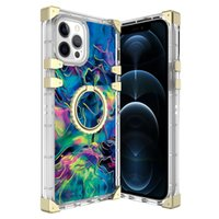 new luxury Beauty Phone Cases With Rotating kickstand Ring Square Plating Corner Cover For iPhone 13 12 mini 11 pro max XR X 8 7 6 Plus designer Cyberpunk case