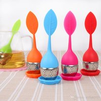 Creative Silicone Tea Filter Leaves Shape Silicon Tea Infuser Teacup With Food Grade Make Tea Bag Filter Stainless Steel Strainers WCW531