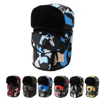 Winter Trapper Hat Men's Outdoor Riding Cap Cold Proof Helmet Warm Cotton Earflap Mask Skiing Thickened Camouflage Neck Protection Women