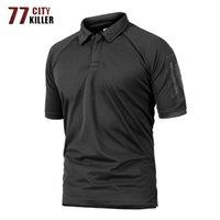 77City Killer Yaz Taktik Askeri Polo Gömlek Erkekler Ordu Camo Polo Gömlek Adamın Nefes Hızlı Kurutma Kol Cep Polo Gömlek 210406