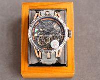 2021 Luksusowe zegarki Trend Unikalny Osobisty Projektant Mody Zaleca Digital Display Grawerowanie Sporty Wodoodporna Taśma Czerwona 46mm Zegarek męska Automatyczna maszyna