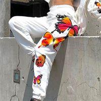 Bianco nero Casual Pantaloni Allentati Pantaloni Pantaloni Joggers High SweatPants Donne Pantaloni a farfalla Pantaloni lunghi Streetwear Donne Capris