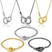 Stainless Steel Bracelet Curb Chain Necklace PUT DOWN UNLOCK Engrave Retro Handcuffs Pendant Bangle for Men