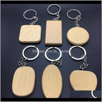 Other Household Sundries Home & Gardenblank Wooden Keychains Diy Personalized Engraved Key Ring Wood Pendant Keychain Square Round Heart Sha