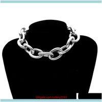 Pendant Necklaces & Pendants Jewelrywomen Punk Big Linked Glossy Chain Necklace Choker Bracelet Jewelry Decor Drop Delivery 2021 Srmgp