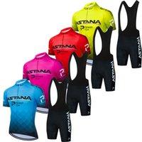 Велосипедная одежда 2021 Pro Team Astana Мужчины / Женщины Летние Дышащие Велосипедные Джерси 9D Гель Мягкая Набор Bib Шорты Kit Ropa Ciclismo