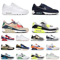 2021 Top Quality NIKE Air Max 90 Running Shoes Triple White Navy Blue SIZE 12 Moss Green Trail Team Gold Airmax Mens Womens Trainers Sneakers