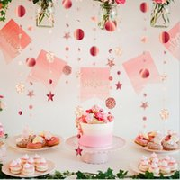 Decorative Flowers & Wreaths 4M Star Discs Paper Garland Ribbon Banner Birthday Party Wedding Christmas Home Decoration Pendant
