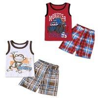 Boys Clothing Sets Boy Suit Baby Kids Suits Wear Summer Cotton Vest Tops Shorts Pants Casual 2Pcs Beach Outfits B5328