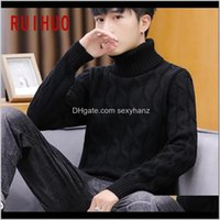Sweaters Apparel Drop Delivery 2021 Ruihuo Solid Knitted Sweater Clothing Mens Pull Turtleneck Men Clothes Pullover Autumn Winter M-3Xl 9Pxuk