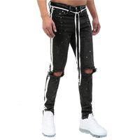 Мужская кимсера уничтожена окрашенные джинсы брюки привет Улица разорванные джинсовые брюки с отверстиями модной уличной одежды проблемные джинсы черные