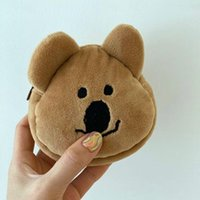 Pencil Bags Cute Coin Purse Bear Head Storage Bag Ins Style Fashion Girl Cosmetic Soft Embroidered Girls Wallet Cartoon Brown