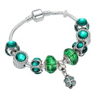 Green Faceted Glass Opal European Beads Diy Bracelet Female Simple Fashion Four-Leaf Clover Pendant Women Jewelry Charm Bracelets