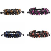 8mm Natural Lava Stone Beaded Double Layer Charm Bracelets For Men Women Handmade Rope Braided Fashion Yoga Jewelry