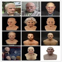 Masques de fête 18 Types Homme Vieil homme Masque effrayant Cosplay Head Tête Full Latex Halloween Horror Casque drôle réel