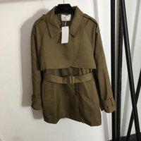 autumn fashion designer women's jacket Belted waist slim-fit short long-sleeved trench coat