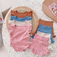 kids Clothing Sets girls Pit stripe outfits infant ruffle Flying sleeve Solid color Tops+shorts 2pcs sets summer fashion Boutique baby Clothes Z3433