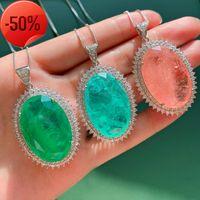 925 sterling silver 20*30mm Paraiba Tourmaline Emerald Pink Quartz Gemstone Pendant Necklace Fine Jewelry for Women