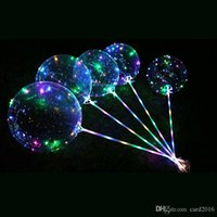 LED Transparent Clear BoBo Balloon 18 inch Light Colorful Wave Helium Ball for Birthday Wedding Christmas Party Decorative Light Up
