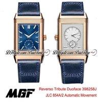 MGF Reverso Tribute Duoface 398258J JLC 854A / 2 Otomatik Erkek İzle Gül Altın Gümüş Dial Mavi Deri Kayışı Yeni Puretime 01B2 Donatella