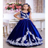Girl's Dresses Mother Daughter Velvet 2021 Lace Appliques Royal Blue Formal Event Dress Up Back Beautiful Flower Girl Gowns