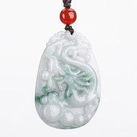 Chiński Jade Wisiorek Hurtownie Ręcznie Rzeźbione Birma Jade Dragon Wisiorek Lucky Amulet Jade Długi Kochankowie Naszyjnik Biżuteria Jadeite