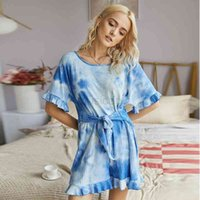 2020 summer casual tie dye jumpsuit women tops Lace up Lotus leaf club outfits womens rompers woman shorts jumpsuits mono mujer