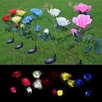 PC Solar Rose Light 3-головая светодиодная лампочка струны капельки Fairty 2V 60ma Ligh Hound Simulation Garden