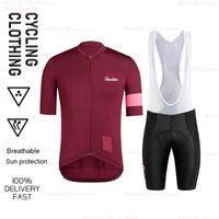 Raudax Erkekler Bisiklet Giyim Ciclismo Mujer Renkli Kısa Kollu Jersey MTB Bisiklet Takımı Foote Maillot Yarış Setleri