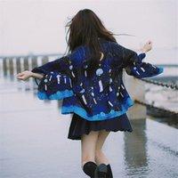 Estilo japonês quimono cardigan mulheres homens top tradicionais streetwear blusas cosplay anime estrelas lua chimes de vento de oversize pano étnico