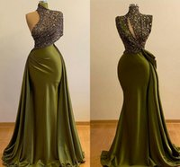 Luxury Long Evening Dresses 2021 High Neck Mermaid Style Bea...