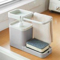 Flüssig Seifenspender 1 stück Küche Geschirrspülmaschine Presse Ausgang Box Wipe Rack Schwamm Ablauf Lagerung Teller Handtuch Aufhänger Dropship